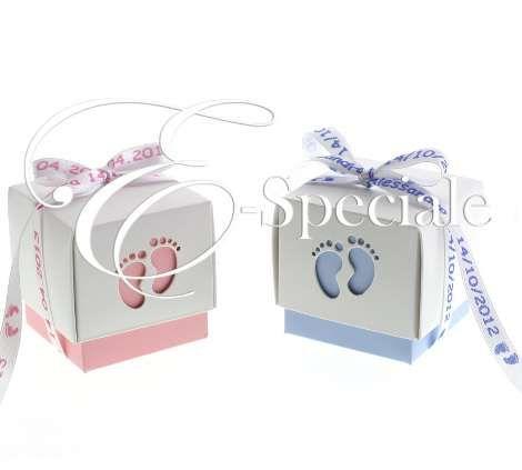 Scatolina con Piedini - Prodotti per Battesimo / Baby Shower - Bomboniere e Decori - Scatoline - accessori e gadget per matrimoni e feste - E-speciale