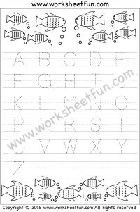 Letter Tracing Worksheet – Capital Letters – Fish Theme