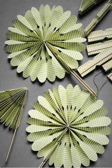 Paper crinkle fans for outdoor summer wedding