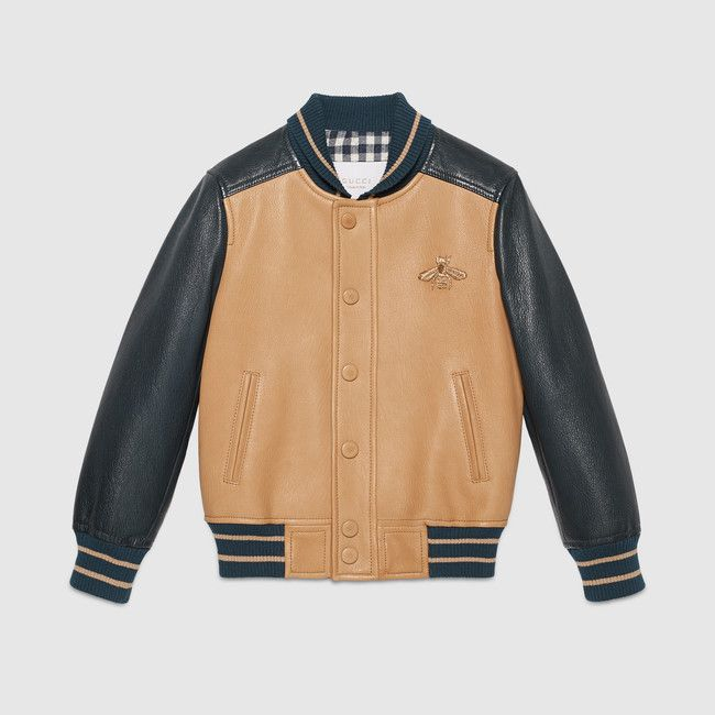 Gucci Children S Blue And Tan Leather Bomber Jacket With