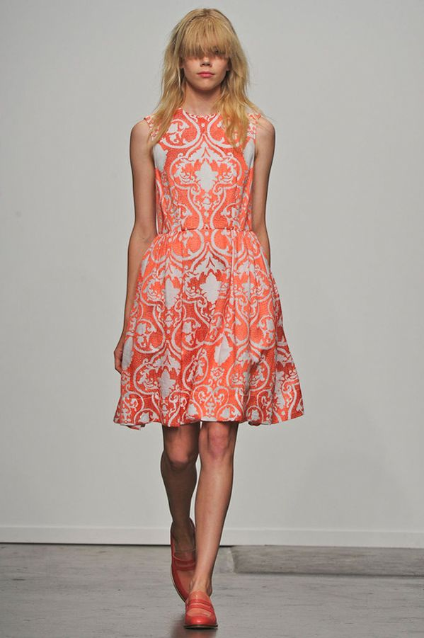 karen walker 2013 -- adore the bold color & print paired with simple shape.  LOVE the two-tone loafers.