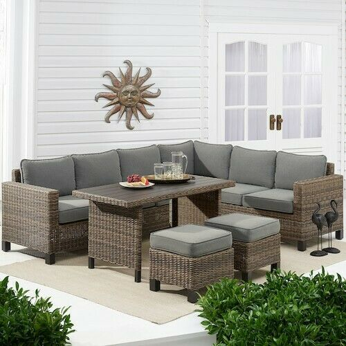 Outdoor Furniture Set 5pc Gray Wicker Deck Patio Table Cushioned