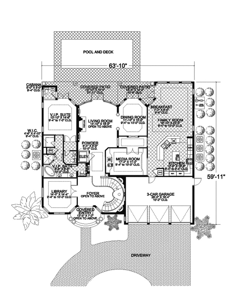 Elevator plan 106s 0052 for House plans with elevator