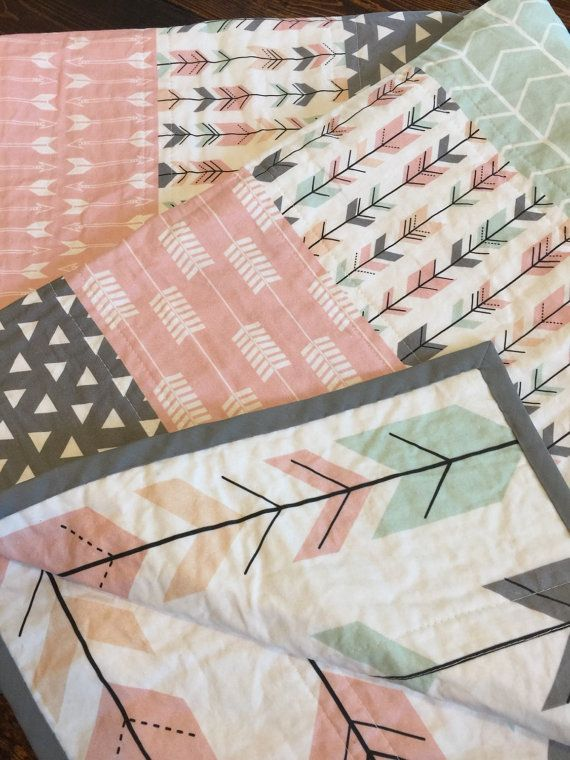 Modern Pink Arrow Quilt baby quilt baby blanket by TheCoralCottage