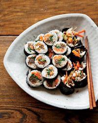 Korean Sushi Rolls with Walnut-Edamame Crumble // More Great Korean Recipes: http://www.foodandwine.com/slideshows/korean #foodandwine