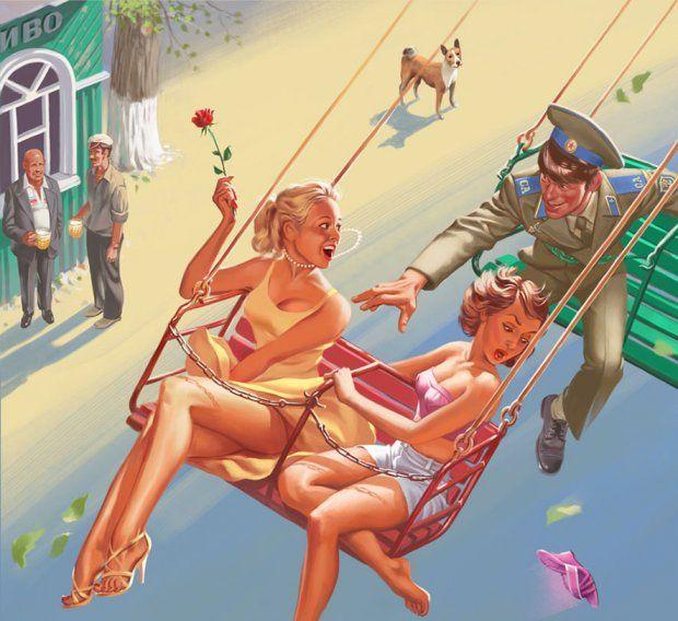 Дембельская весна — Советский Пинап — официальный сайт художника-иллюстратора Валерия Барыкина
