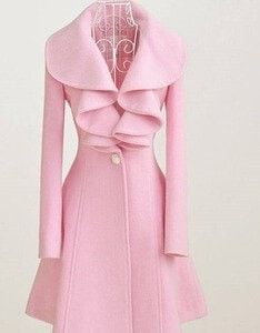 Elegant Vintage-Style Long Ruffle Accent One-Button Closure Wool Coat M-2XL 4 Colors