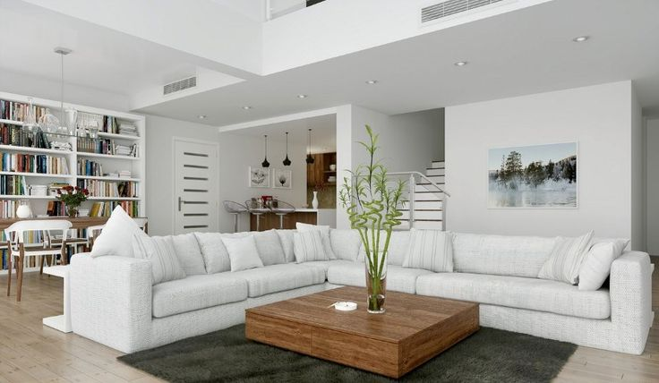 elegant white interior design idea with mini library also long l shaped sofa set