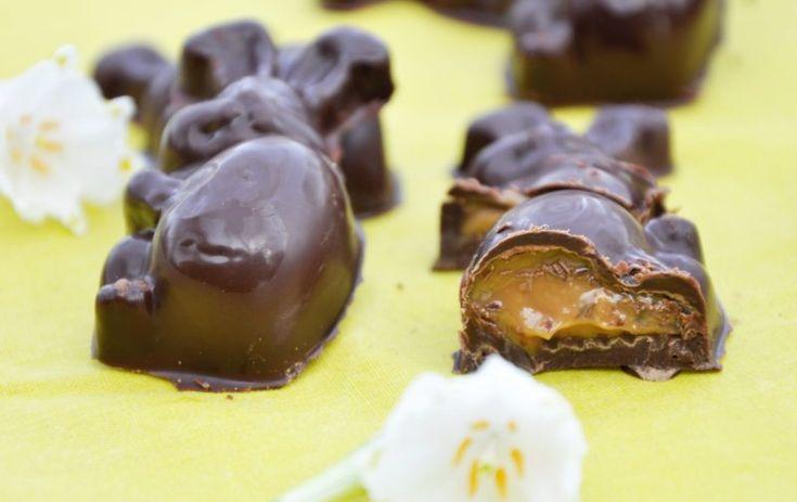 Chokolade påskeharer fyldt med rom karamel, Danmark,Påske, Lækkeri, Slik, opskrift