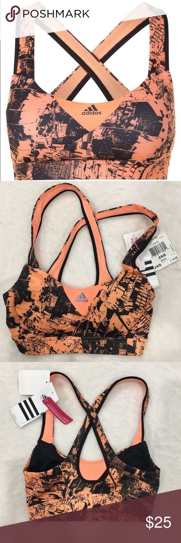 Adidas High Performance Sports Bra NWT. Black and orange design. So cute with all black leggings or bike shorts. This bra is XXS. It is very small. Great for the very petite gal or even a nice gift for your teen daughter! I'm sad I cannot fit it but happy to sell! adidas Intimates & Sleepwear Bras