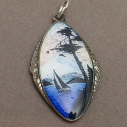 Enamel & Sterling Silver Scenic Picture Pendant Vintage Norway H.C.Ostrem