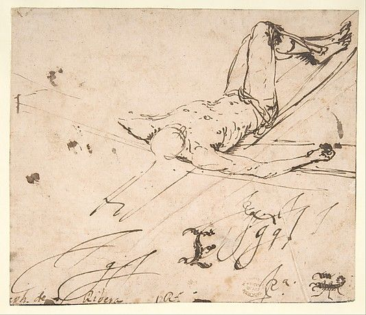 Jusepe de Ribera, Study for a Crucifixion of St. Peter