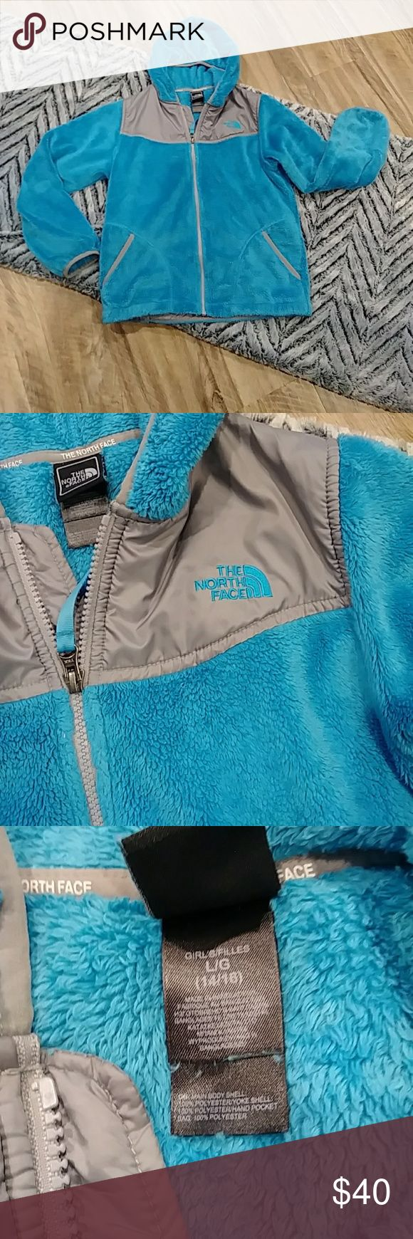 Girls North Face fleece jacket Great used condition this girl's North Face fuzzy fleece jacket fits 14/16. The North Face Jackets & Coats