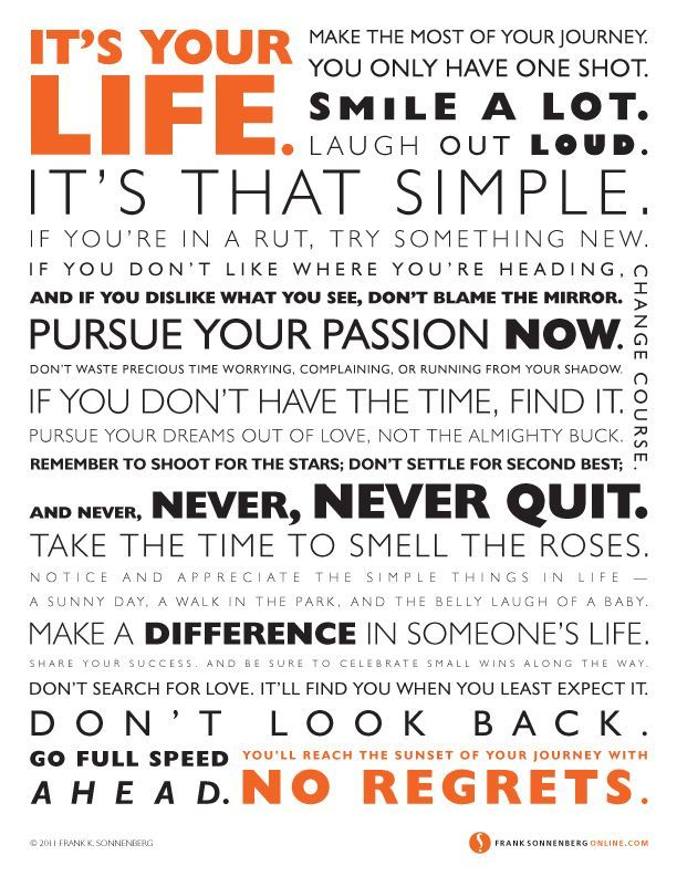It's Your Life | Values to Live By | www.FrankSonnenbergOnline.com