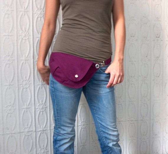 Belt Bag in Bright Plum Cotton  Fanny Pack Hip Bag by rocksandsalt, Fresh take on the fanny pack! #thingsilove #eggplant