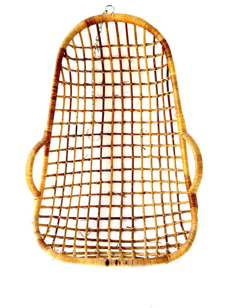 Bamboo Rattan Hanging Birdcage Chair Wicker Egg Vintage retro Mid Century