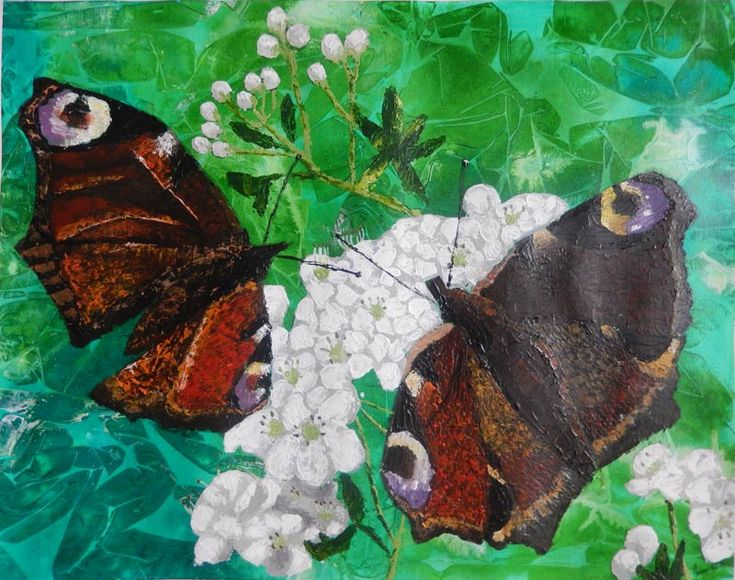Peacock butterflies on the May blossom | 24Steps Art and Design  #wildlife #peacockbutterflies #mixedmedia