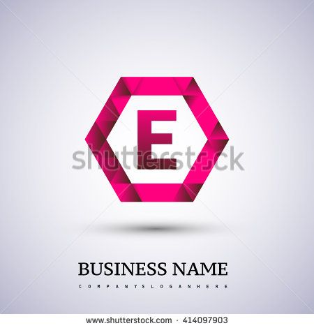 E Letter logo icon design template elements on red hexagonal. - stock vector