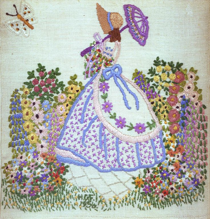 Embroidery- crinoline lady