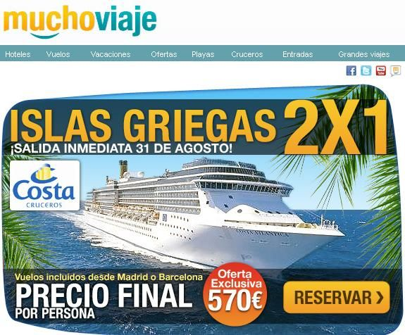 #Cruceros Islas Griegas, 2x1. Desde $570 hasta diciembre!