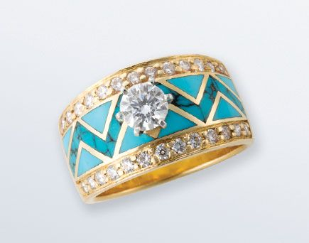 Turquoise in nature:  turquoise & diamonds.  Santa Fe Goldworks by David Griego <3
