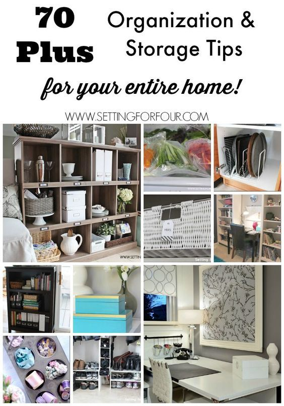 70+ Storage Ideas - clever and inexpensive ways to display and organize your home using bookcases, baskets, boxes, etc. www.settingforfour.com