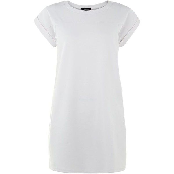 White T-Shirt Dress ($20) ❤ liked on Polyvore featuring dresses, tops, white, white dress, tee dress, short sleeve dress, short-sleeve dresses and round neck dress