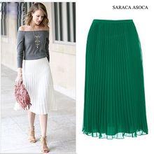 Comercio al por mayor 22 de Color Todo-Fósforo Estupendo Falda de Gasa Plisada de Moda Banda Elástica de Las Mujeres Musulmanas de Tobillo-Longitud Larga Faldas Busto(China (Mainland))