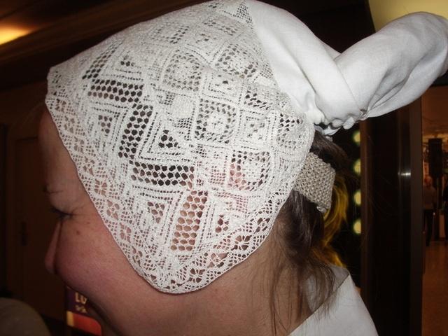 Kymi County, Finland. Bobbin lace hat for a folk dress.
