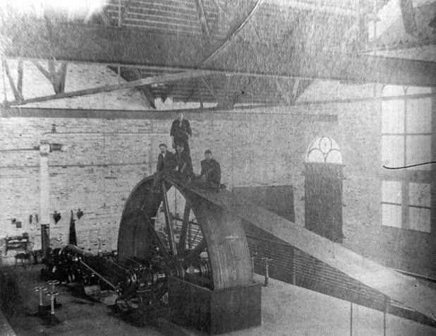 This is very cool! Here is a picture of the 18 ft. in diameter Fly-Wheels at the Bond Lake Power Station, c.1900. How would you #CaptionThis ?