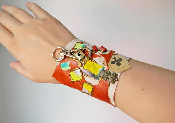 Mixed media and Steampunk leather cuff bracelet Steampunk