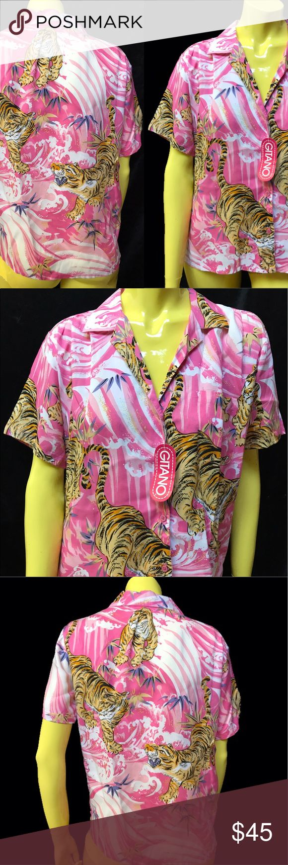 "• VTG 80s Pink Tsunami & Tiger Shirt • Praise the Gauds ✨ This is deadstock disco, this is tropical  this is a fruit punch & feline fantasy ✨.  . • Gitano • % Rayon • Made in Thailand  • L (definitely more of a medium fit).  . • Length: 23"" • • Bust: 42"" • • Shoulder: 21"" •  . . • * • . • ✶ • . • * • . #vintage #vtg #retro #1980 #1980s #80 #80s #tiger #tiki #tsunami #pink #sea #surf #camp #campy #disco #tropical #jungle #cat #summer #surreal #novelty #print #top #thrift #shop #realbazaar…"