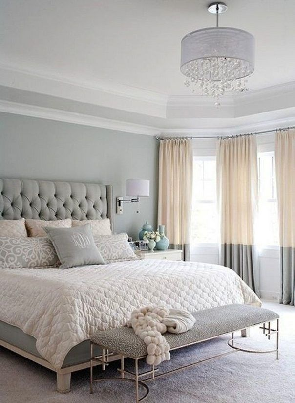 A Chandelier, Upholstered Headboard, Wall Sconces And Nightstands In White,  Blue And Silver Are Always Chic.   Home Decor Designs