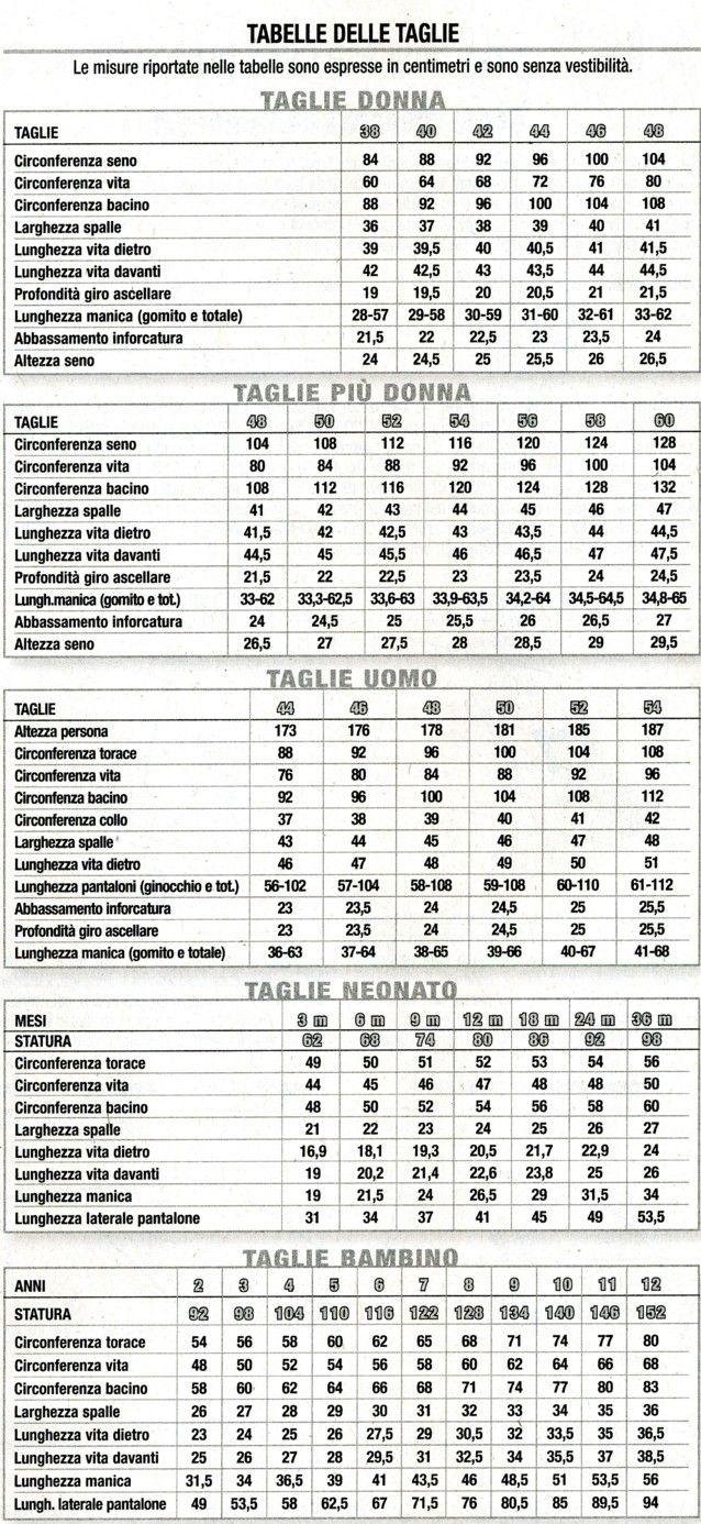 tabella misure taglie per lavori ai ferri - Cerca con Google