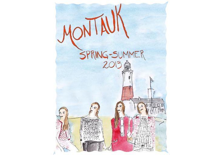 Elegant watercolors by illustrator Robert Beck describe Pennyblack fashion. #pennyblack #postcard #montauk #robertbeck #illustrations