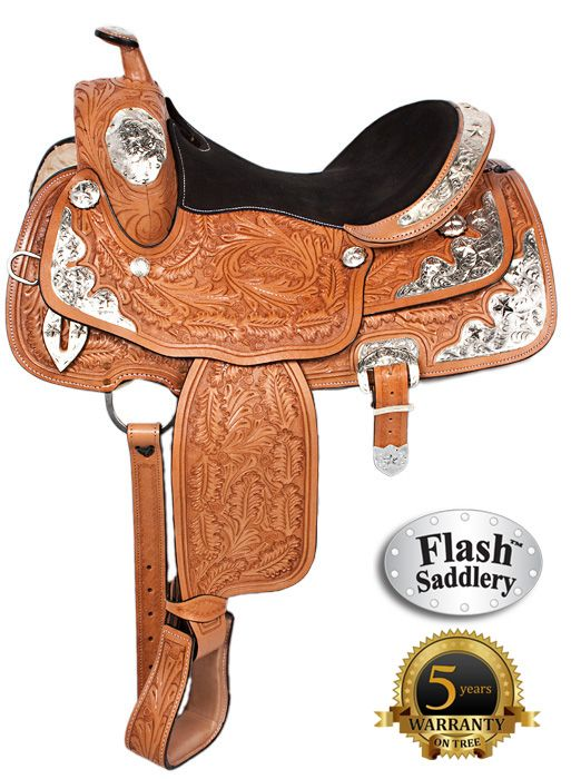 Flash Western Leather Silver Show Horse Saddle 15 16 17