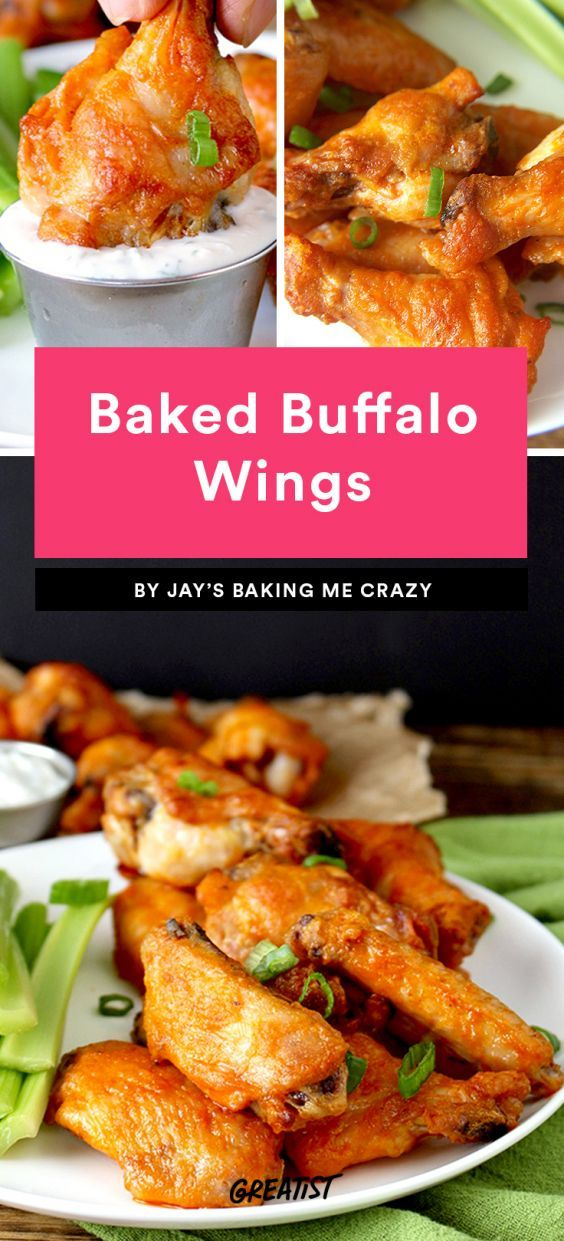 Baked Buffalo Wings  Is it really a sporting event without wings? We think not. This baked version won't take too much time or effort in the kitchen, so you can pop 'em in and get back to watching your favorite event. Once they're ready, break out the Frank's Red Hot and coat them up.