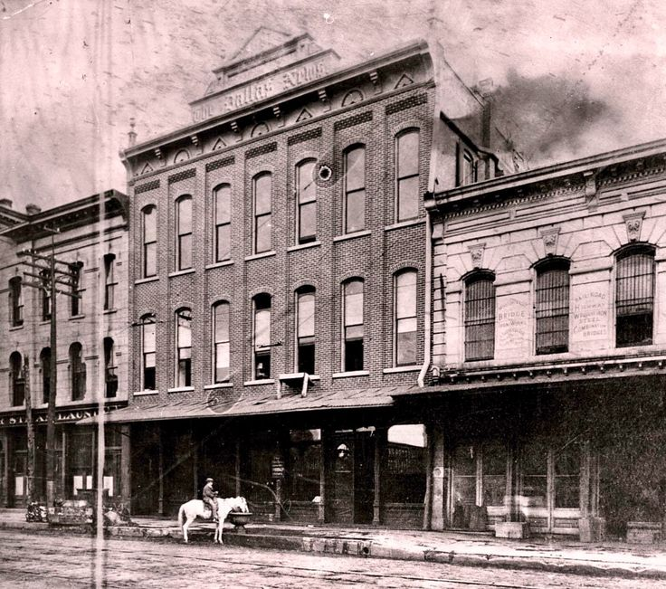 The Dallas News building, on Commerce Street between Lamar and Austin, Dallas, Texas, circa 1885. Next to it were the Grand Windsor hotel (left), and the two-story Dallas City Hall. Photo courtesy Dallas Morning News.