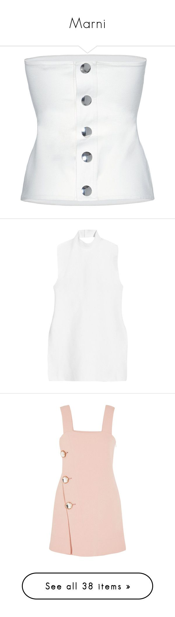 """Marni"" by z-zzz ❤ liked on Polyvore featuring tops, white bandeau top, silver top, bandeau tops, form fitting tops, marni, tunics, white, cotton jersey and white tops"