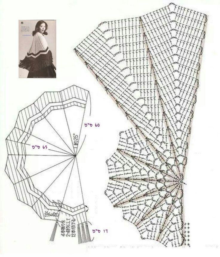 Ridículamente fácil gráfico para un medio círculo, ondulación chal de ganchillo estilo. Perfecto para la auto-creación de bandas o hilo hilada a mano. Piense en ello como un lienzo en blanco.