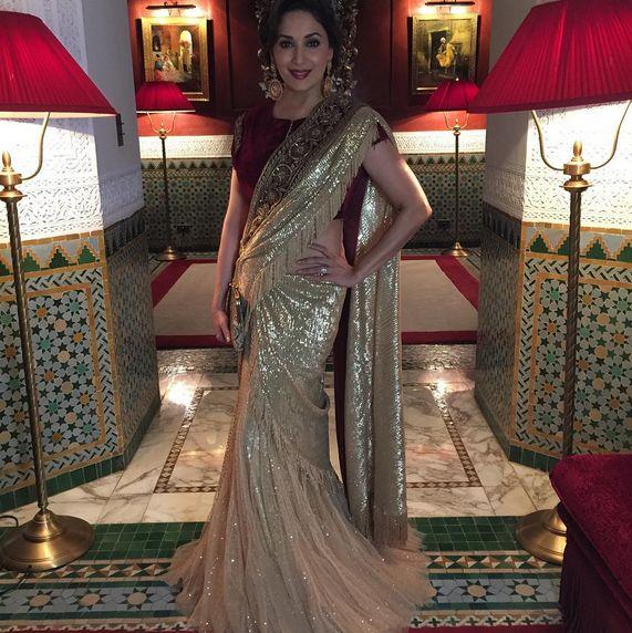 Madhuri Dixit Nene In A Beautiful Lehenga Saree By Tarun Thiliani