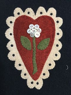 Wool Lace Appliqued Heart by Wooden Spool Designs