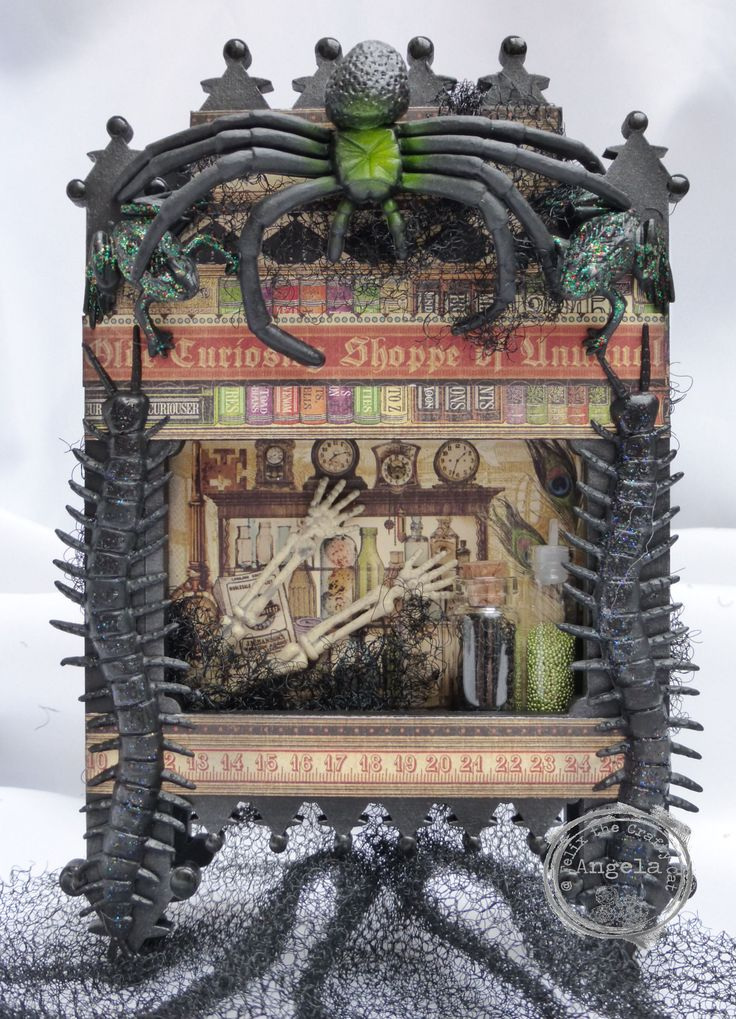 My Halloween shrine using the gorgeous MDF pieces from Danny at That Craft Place.