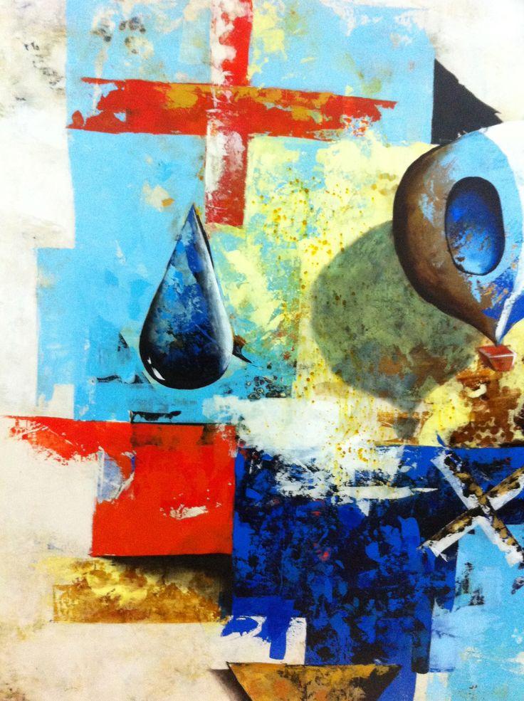 Detalle Título: Vuelo en Zinc. Formato:  90 x 90 cm.  Técnica: Óleo y acrílico sobre lienzo. Año: 2015