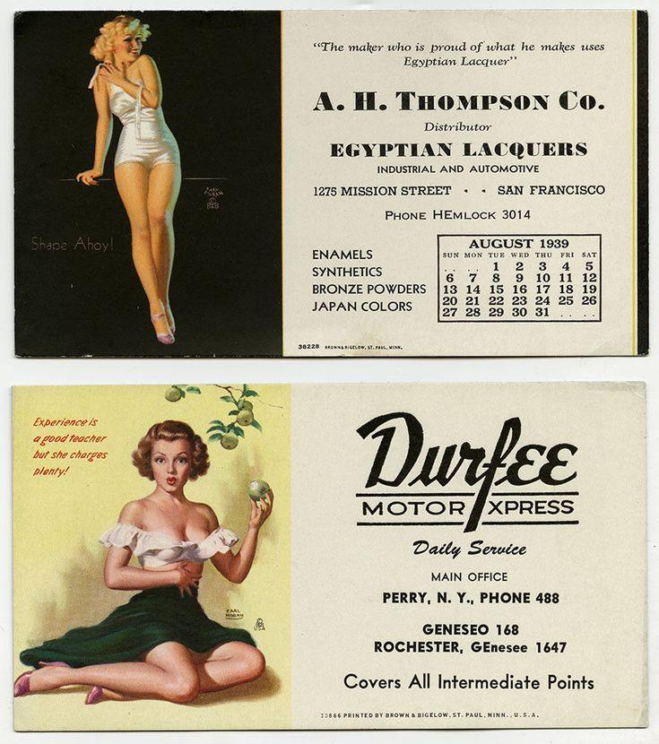 Lot of 2 1930s-1940s Earl Moran Pin-Up Advertising Ink Blotters Brown & Bigelow