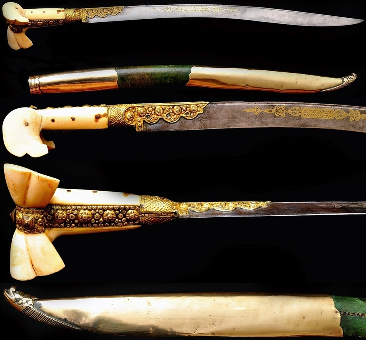 "Ottoman Yatagan from 1855. It has a steel blade, richly overlaid with gold, and displays a large walrus ivory handle, embellished with gold-gilt filigree. The gold overlay to both sides of the blade is extensive with an engraving saying ""Sâhib wa mâlek Suleiman 1855"", or ""Lord and owner Suleiman 1855"". This Yatagan is a souvenir trophy of an English officer from its Ottoman allies, during the Crimean War in 1855. Length: 76 cm, blade: 62 cm."