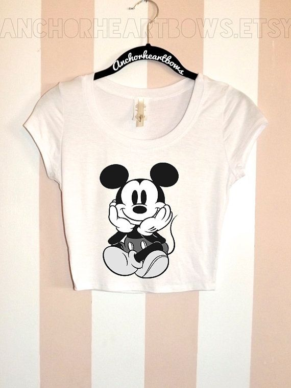 Hey, I found this really awesome Etsy listing at https://www.etsy.com/listing/191483676/mickey-mouse-crop-top-shirt-hipster-37