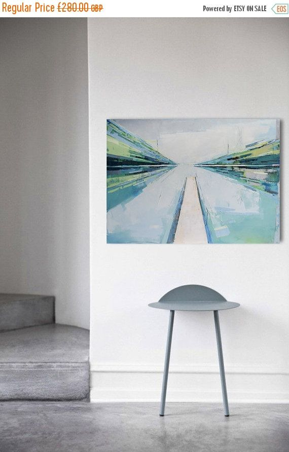 Oil painting canvas art stretched Lake XIX. Size by INKAARTSHOP