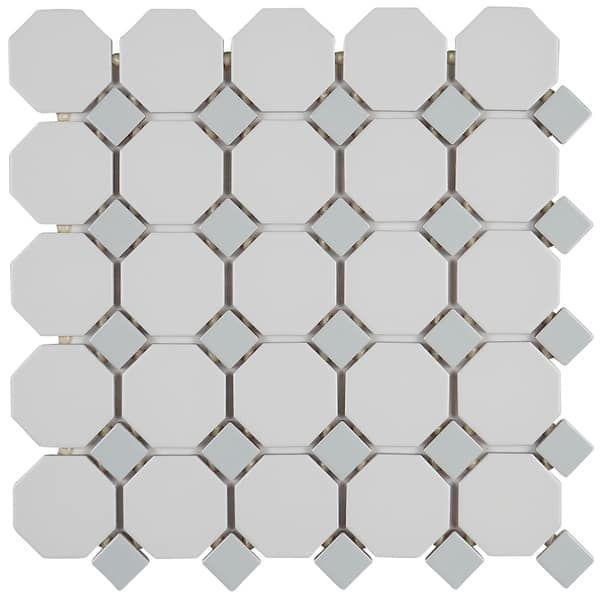 Mosaic 2x2 Inch Octagon With 1x1 Inch Gray Gloss Dot On 12x12 Inch Matte White Sheet 12x12 Mosaic Tiles Ceramic Mosaic Tile Ceramic Subway Tile