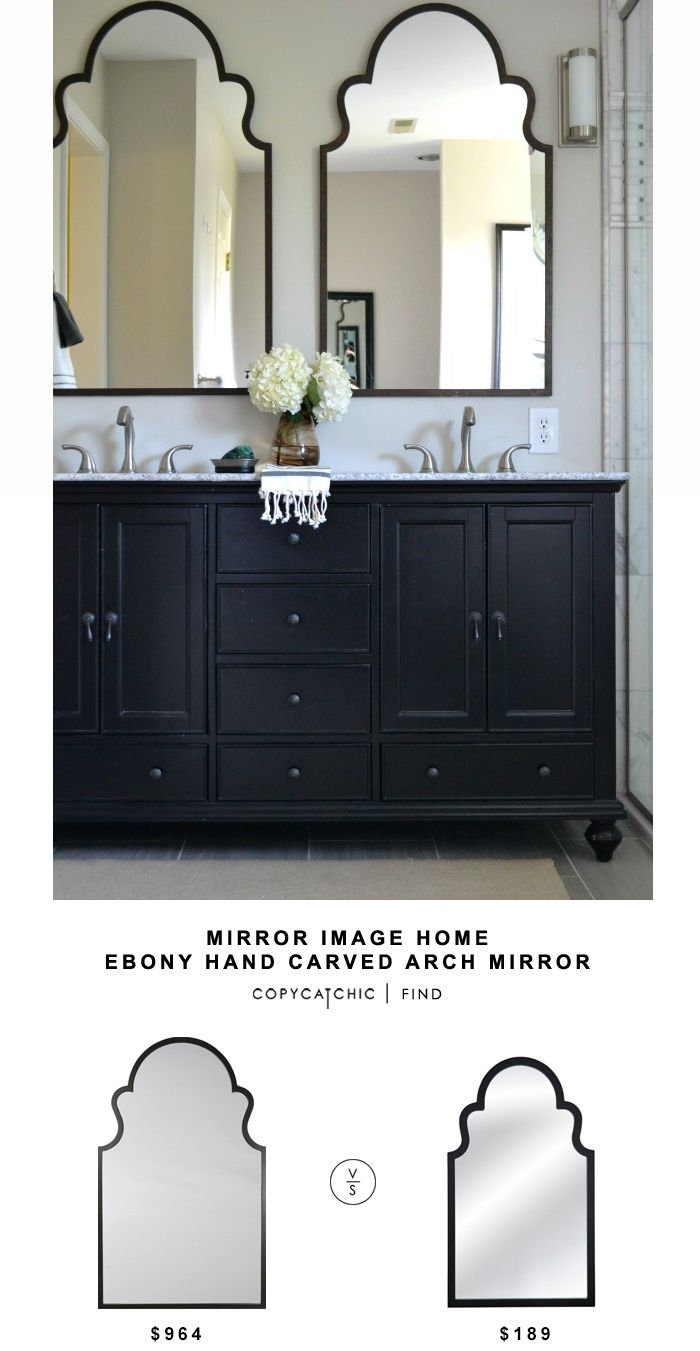 Art Exhibition Mirror Image Home Ebony Hand Carved Arch Mirror Copy Cat Chic